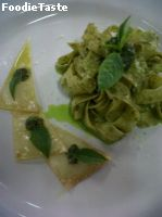 Fettucini with pesto sauce