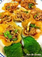 ลาบ กระทงทอง Spicy minced beef in Crispy Golden Cup