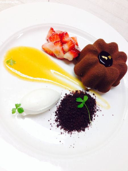 Chocolate Caramelia Mousse and Apricot Center