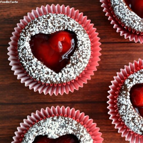 �Ѿ�顪�ͤ����������� - Cherry Heart Cutout Cupcakes