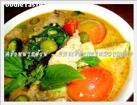 ᡧ������ҹ�������ҧ (Grilled pork neck green curry)