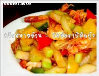 �����ҺԼѴ��� (Stir fried Kohlrabi and shrimp)