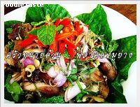���Ҥ������ҧ (Grilled pork neck and herbs salad)